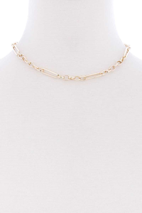 Metal Single Chain Short Necklace