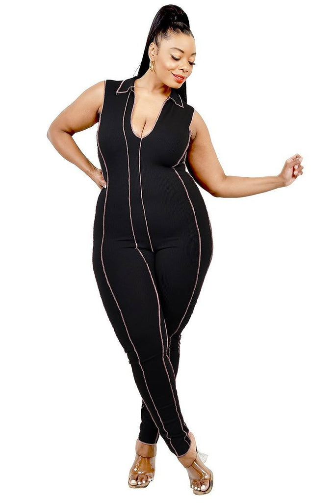 Plus Collar and Stitch Jumpsuit