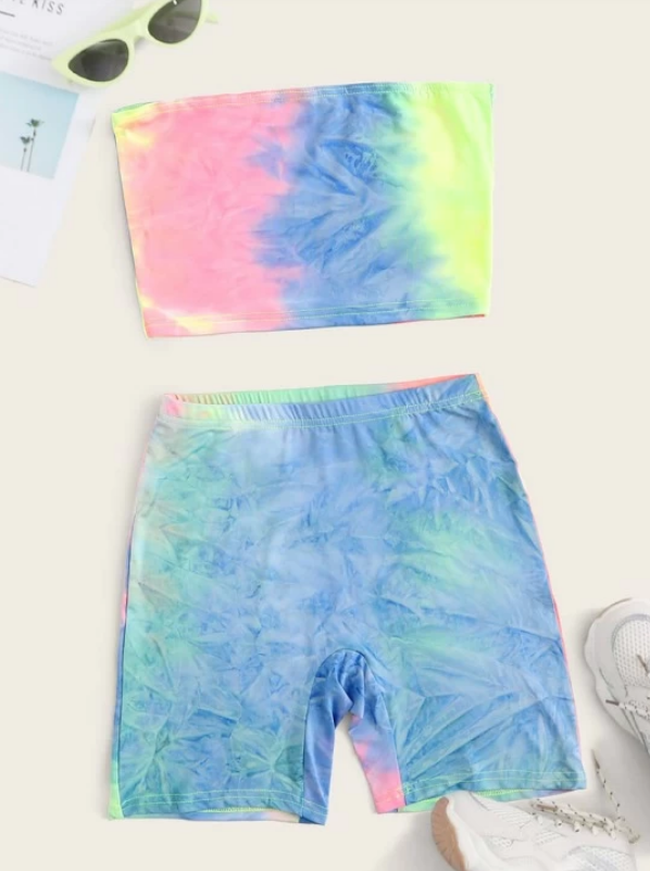 Tie Dye Crop Bandeau Top With Shorts