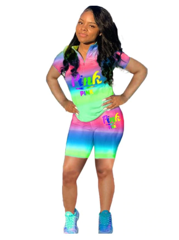 pink letter tie dye print shorts  two piece set