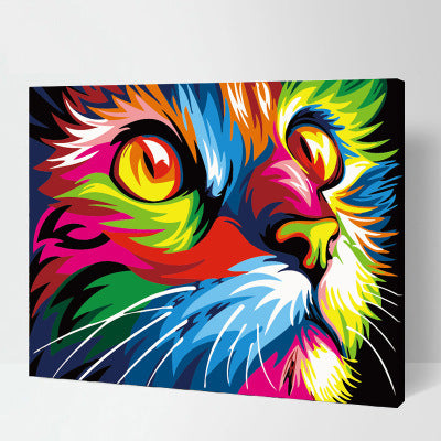 Colorful Cat Abstract Close-up