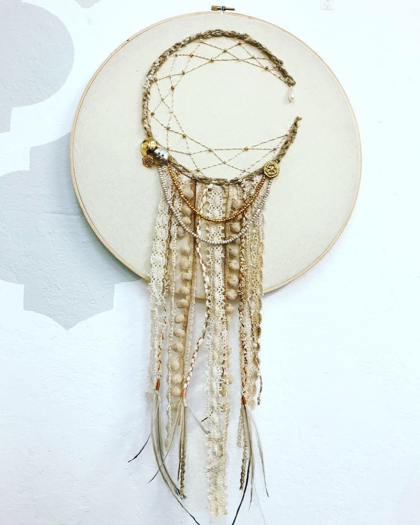 "14"" Boho Lace Hoop Moon Dreamcatcher"