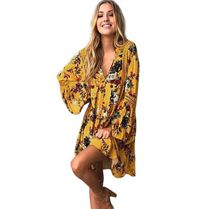 Mustard Floral Maxi Dress - Boho Beach Queen