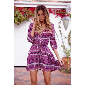 Floral Print Mini Summer Dress - Boho Beach Queen