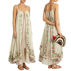 Boho Inspired Floral Embroidered Maxi Dress - Boho Beach Queen