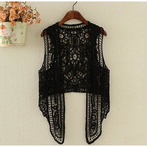 Hippie Love Crochet Cardigan Black