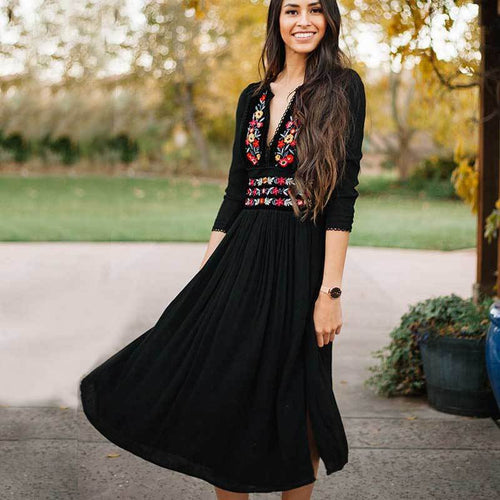 Floral Tribal Embroidered Dress Black