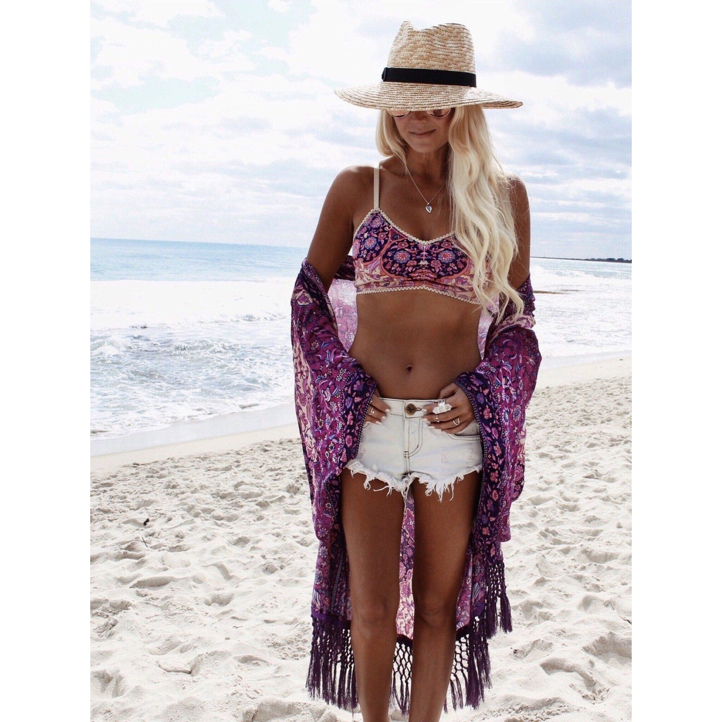 Summer Purple Fringe Kimono - Boho Beach Queen
