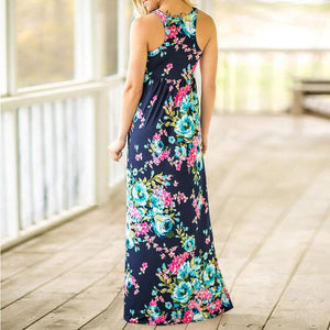 Blue Floral Printed Sleeveless Maxi Dress - Boho Beach Queen