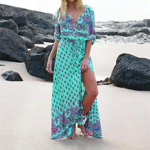 Half Sleeve Summer Boho Dress green 1