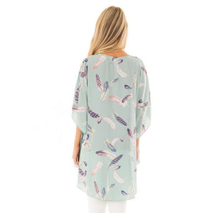Open Front Feather Print Kimono - Boho Beach Queen