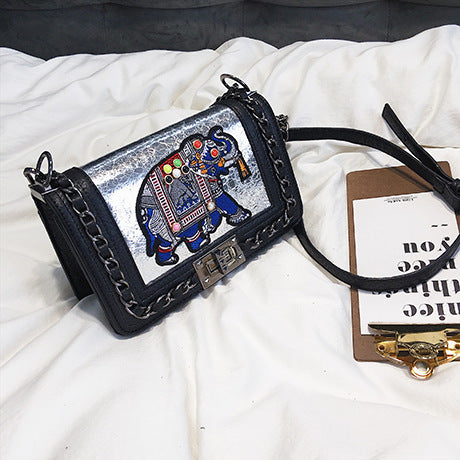 Embroidered Elephant Cross Body Bag
