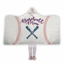 Baseball Mom White Hooded Blanket - Honeybee's Tees
