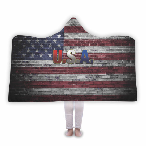 USA Flag on Brick Wall Hooded Blanket - Honeybee's Tees