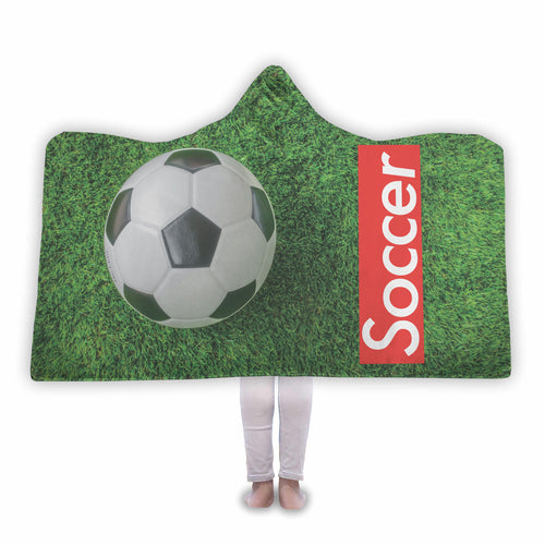 Red Soccer logo Hooded Blanket - Honeybee's Tees