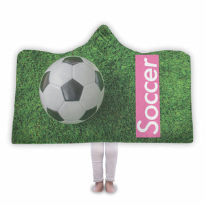 Pink Soccer logo Hooded Blanket - Honeybee's Tees