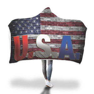 U.S.A. Brick Wall Flag Hooded Blanket - Honeybee's Tees