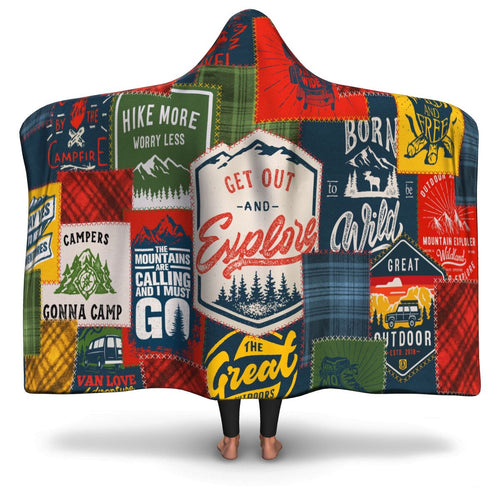Outdoors Patches Hooded Blanket - Honeybee's Tees