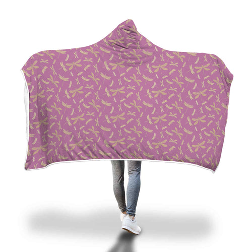 Pink Dragonfly Pattern Hooded Blanket - Honeybee's Tees