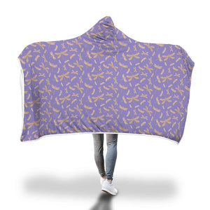 Purple Dragonfly Pattern Hooded Blanket - Honeybee's Tees