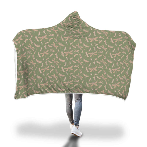 Green Dragonfly Pattern Hooded Blanket - Honeybee's Tees