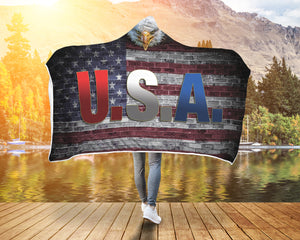 USA Brick Wall - Eagle Hooded Blanket - Honeybee's Tees