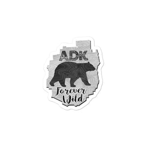 ADK Map/Bear Forever Wild (B&W) stickers - Honeybee's Tees
