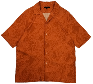 Sand Dune Button-Up Short Sleeve Shirt in Sunset Orange