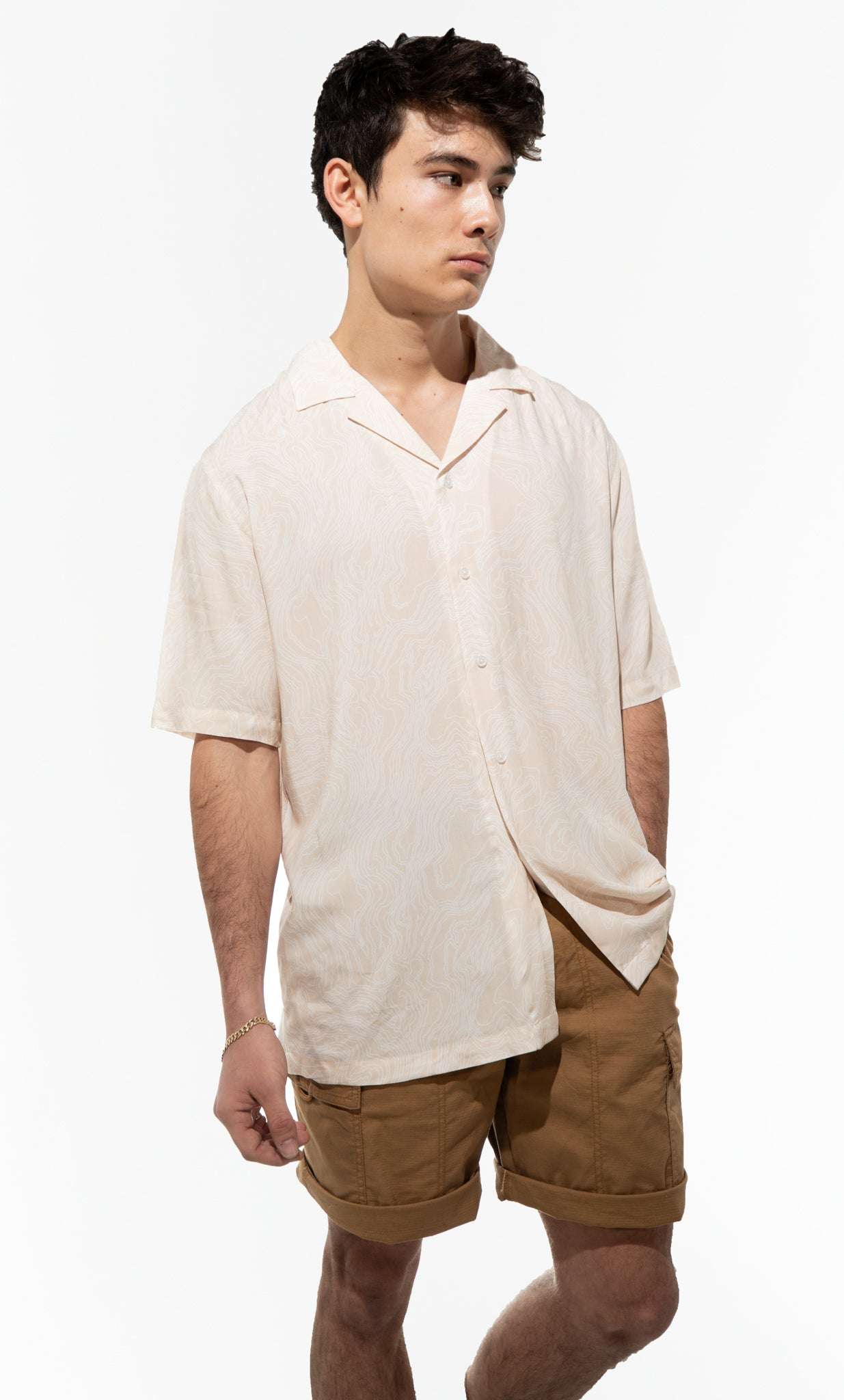 Sand Dune Button-Up Short Sleeve Shirt in Warm Sand