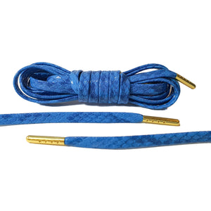 Blue Snakeskin Leather Laces