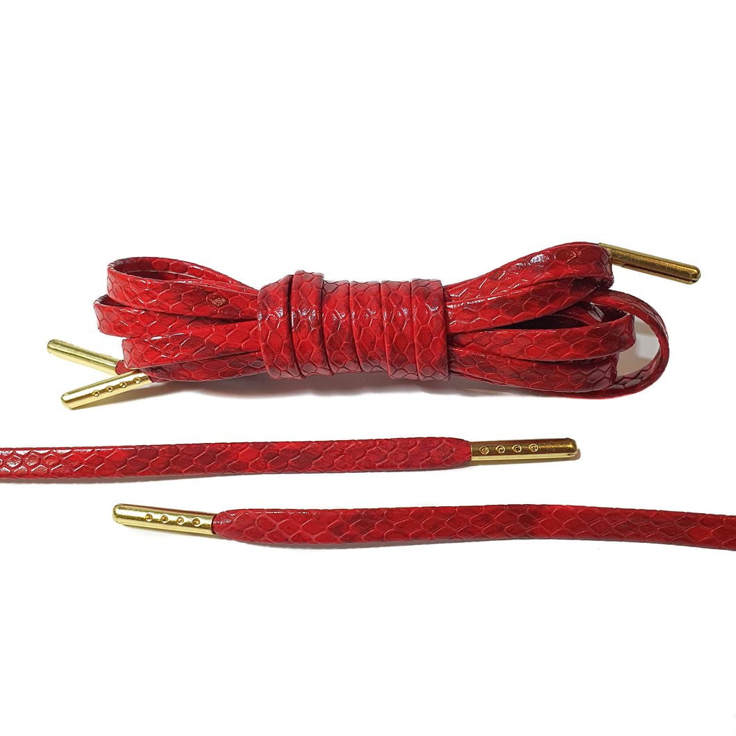 Red Snakeskin Leather Laces