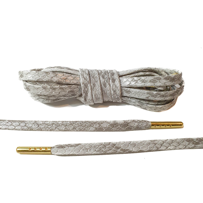 White Snakeskin Leather Laces