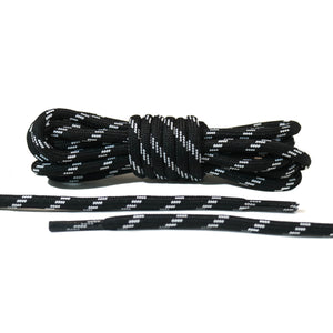 Black with White Lines Rope Laces