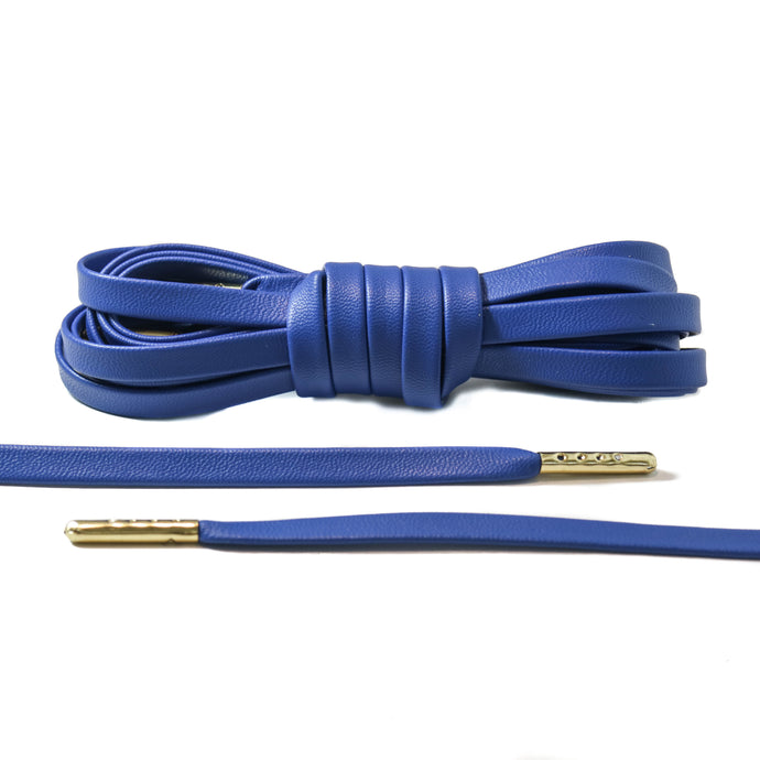 Blue Leather Laces - Gold
