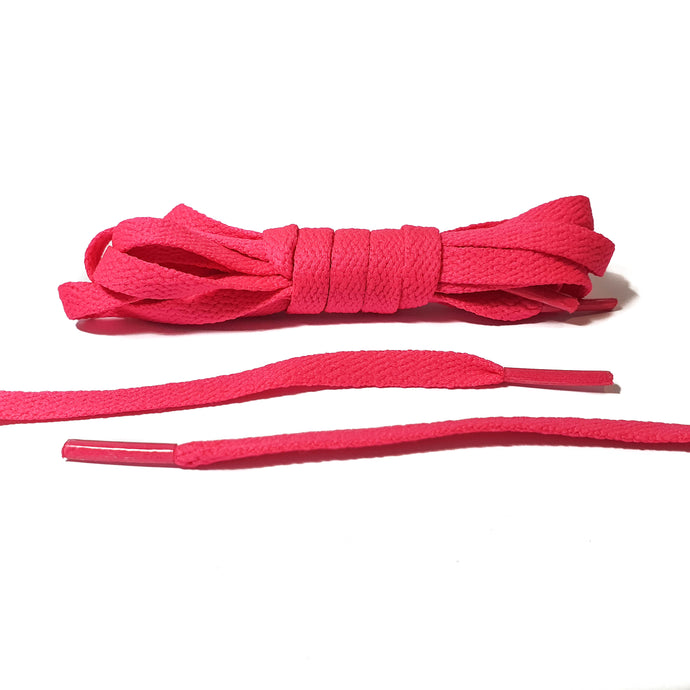 Neon Pink Flat Laces - Thin