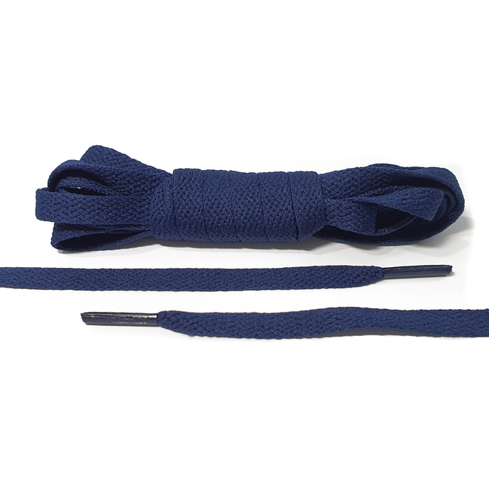 Navy Blue Flat Laces - Thin