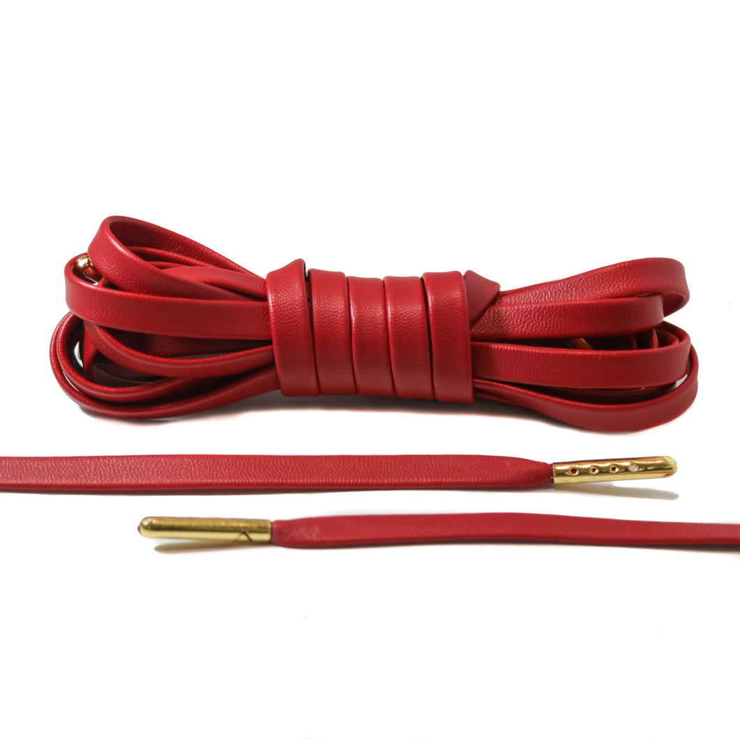 Red Leather Laces - Gold