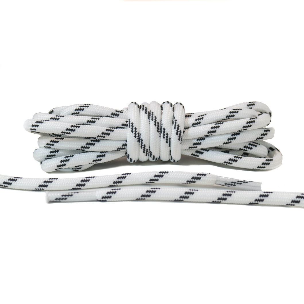 White with Black Lines Rope Laces