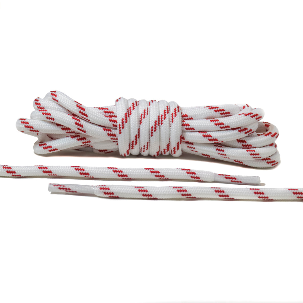 White with Red Lines Rope Laces