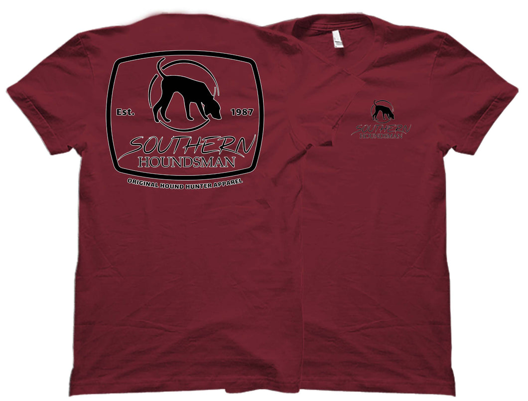 Back and front views of the red Southern Houndsman t-shirt from Swamp Cracker Outdoor Apparel. It has the Southern Houndsman logo in large print on the back and a small corner logo on the front.