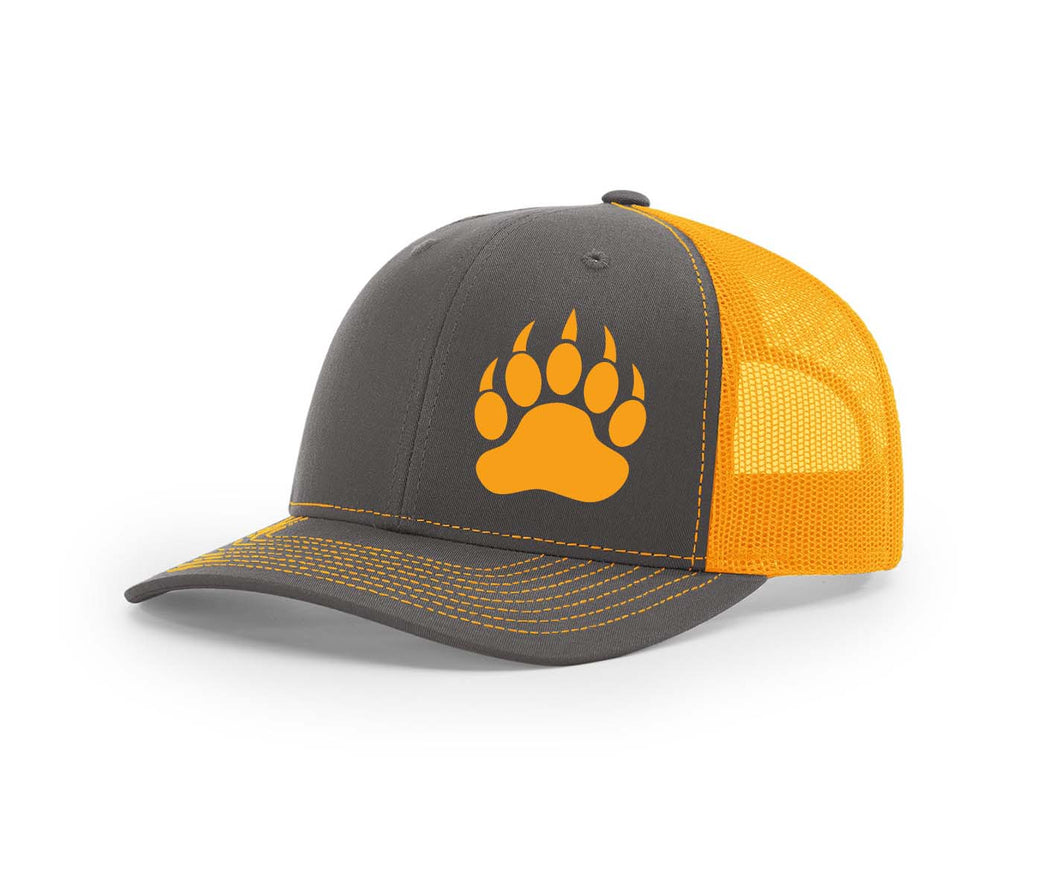Neon orange and charcoal Southern Houndsman trucker snapback from Swamp Cracker Outdoor Apparel with a bear paw print on the front.