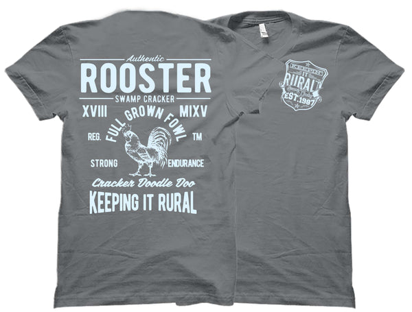 Ice Blue Rural Rooster Swamp Cracker Shirt