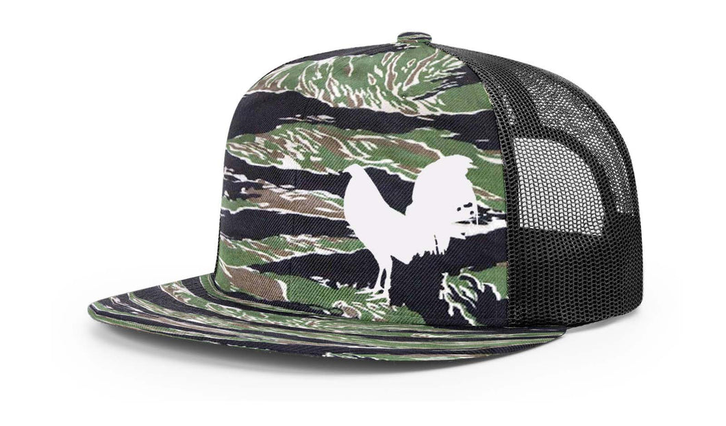 Tiger Camo  Swamp Cracker Rooster flat bill Snapback Hat