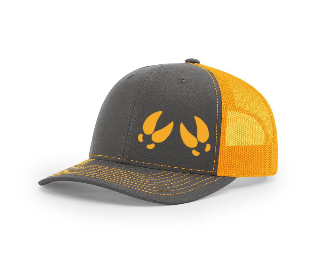 Front view of the outdoorsman hat in charcoal and neon orange with a mesh back and deer tracks on the front.