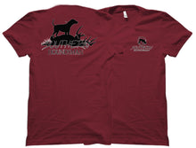 Two burgundy Southern Houndsman shirts from Swamp Cracker Outdoor Apparel side by side with the Southern Houndsman logo on the font and a dog that's recovered a buck on the back.