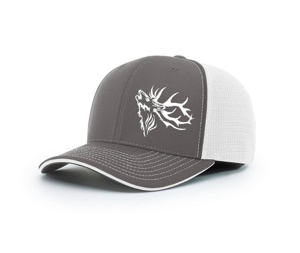 View of the front of the outdoorsman hat at Swamp Cracker Outdoor Apparel in blue and grey with an elk bugling on the front left