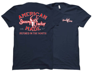 "Back and front views of the black Swamp Cracker Outdoor Apparel American made shirt that reads ""American Made, Swamp Cracker, and Refined in the South."""