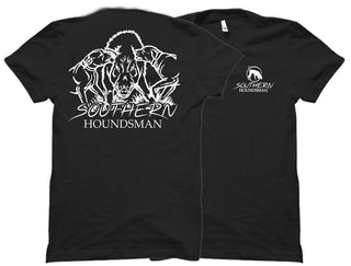 Front and back view of the black outdoor shirts at Swamp Cracker Outdoor Apparel with two dogs biting a boar's ear on the back and the Southern Houndsman logo on the front corner.