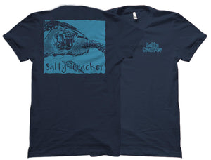 Save The Sea Turtles (Metallic Blue Ink) - Salty Cracker Shirt