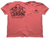 Front and back view of the coral Southern Houndsman outdoorsman shirt at Swamp Cracker Outdoor Apparel with two dogs biting a boar on the back and the Southern Houndsman logo on the front.